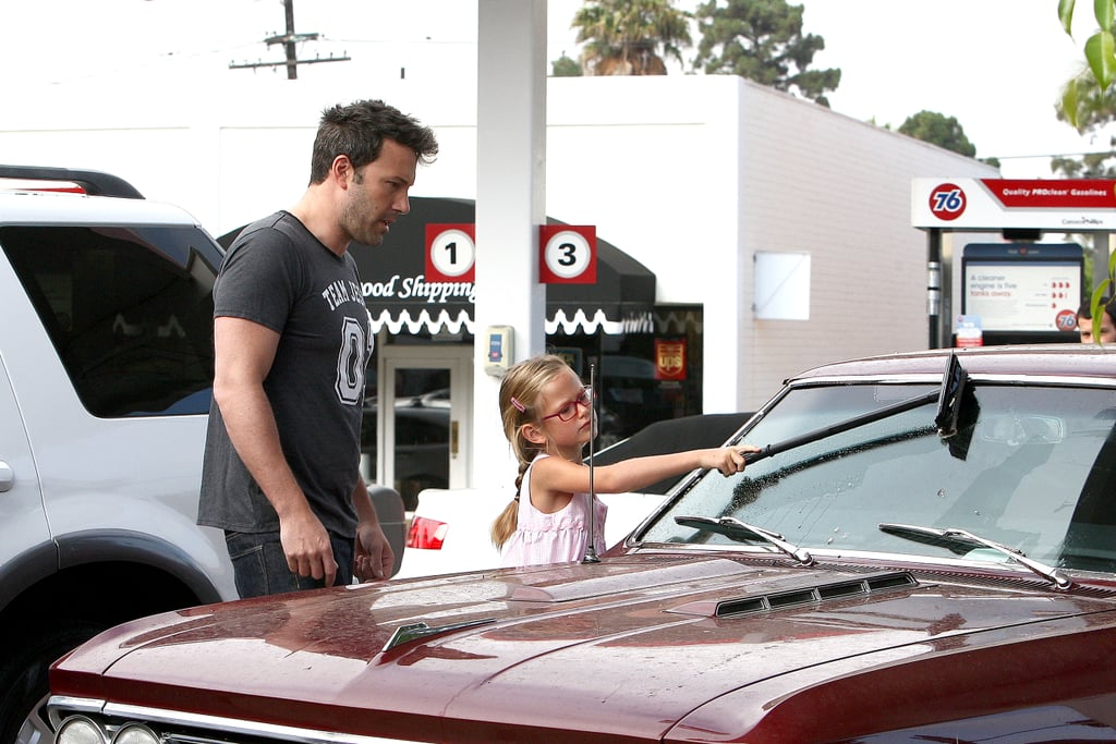Ben Affleck had the help of his eldest daughter Violet when he washed his car in Brentwood, California during the week.