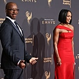 Clearly aware of how good Angela looked, Courtney stepped aside and let his wife do her thing on the Emmys red carpet in September 2017.
