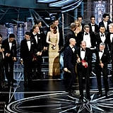 The cast and huge crew associated with La La Land got on stage, and producer Jordan Horowitz started giving his acceptance speech like nothing was wrong.