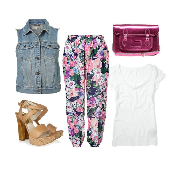 "Whether you're at work or dressing for Sunday brunch with the girls, a denim vest can look cool and modern when paired with printed trousers and a plain white tee.  Topshop Sleeveless Denim Jacket ($76), Zimmermann Multicolored Floral Dreamer Track Pants ($210), Cambridge Satchel Company 14"" Pink Metallic Satchel ($218), Club Monaco Kara Crewneck Tee ($30), MICHAEL Michael Kors Nadina Platform Sandals ($150)"