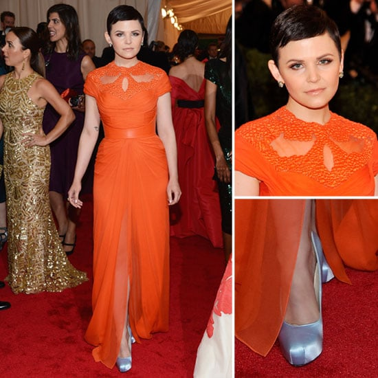 Pictures of Ginnifer Goodwin in Monique Lhuillier Oragne Gown on the Red Carpet at the 2012 Met Costume Institue Gala