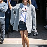 Celine Dion I Heart Paris Hilton Tee and Blue Heart Necklace