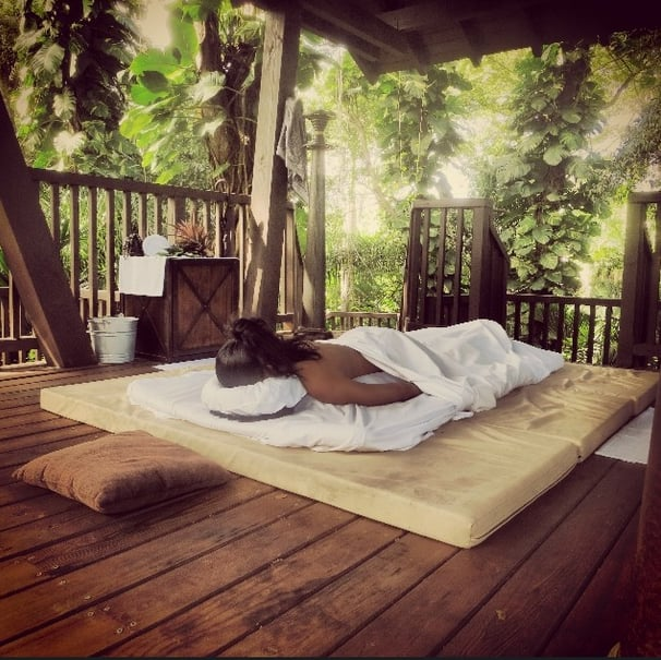 Nothing beats a relaxing massage — just ask Chanel Iman! Source: Instagram user chaneliman