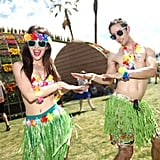 A couple hula danced in their Hawaii-inspired Coachella wear.