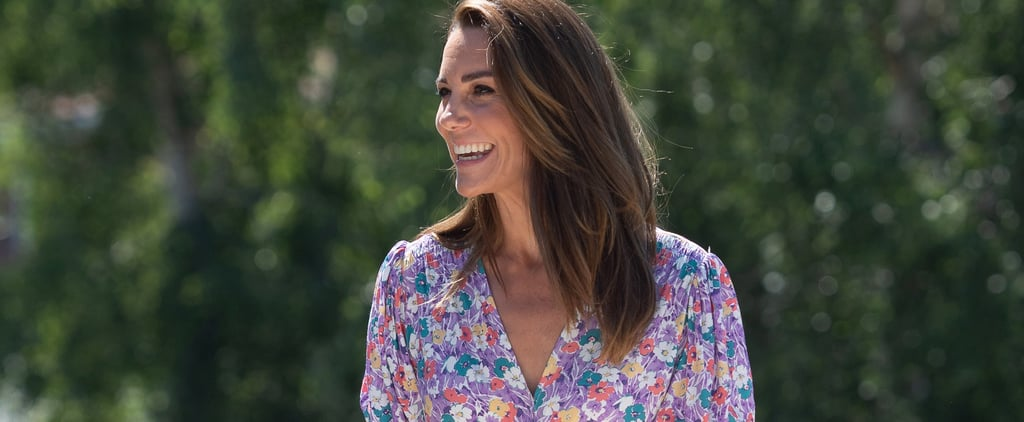 Kate Middleton Wears Faithfull the Brand Purple Floral Dress