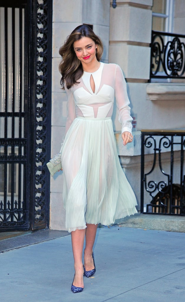 En route to support her husband Orlando Bloom at the Romeo and Juliet Broadway opening, Miranda Kerr strutted her stuff in a minty sheer J. Mendel dress, glittery Christian Louboutin pumps, and a Daniel Swarovski clutch.