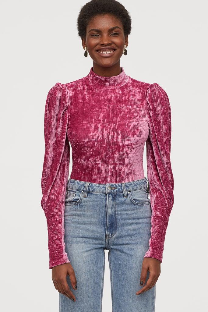 H&M Velour Puff-Sleeved Bodysuit