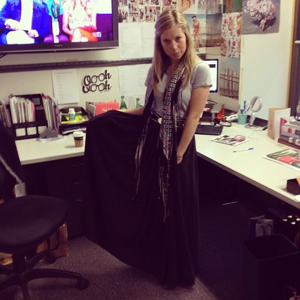 Ali was channelling sexy boho in this Banjo & Matilda skirt, Zara tee and vintage Portmans scarf.