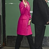 Natalie showed she wasn't afraid of color in a bright pink coat at Good Morning America, which she styled with black heels and pants to match.
