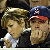 Jennifer Lopez accompanied Ben Affleck to a Sox game in April 2003.