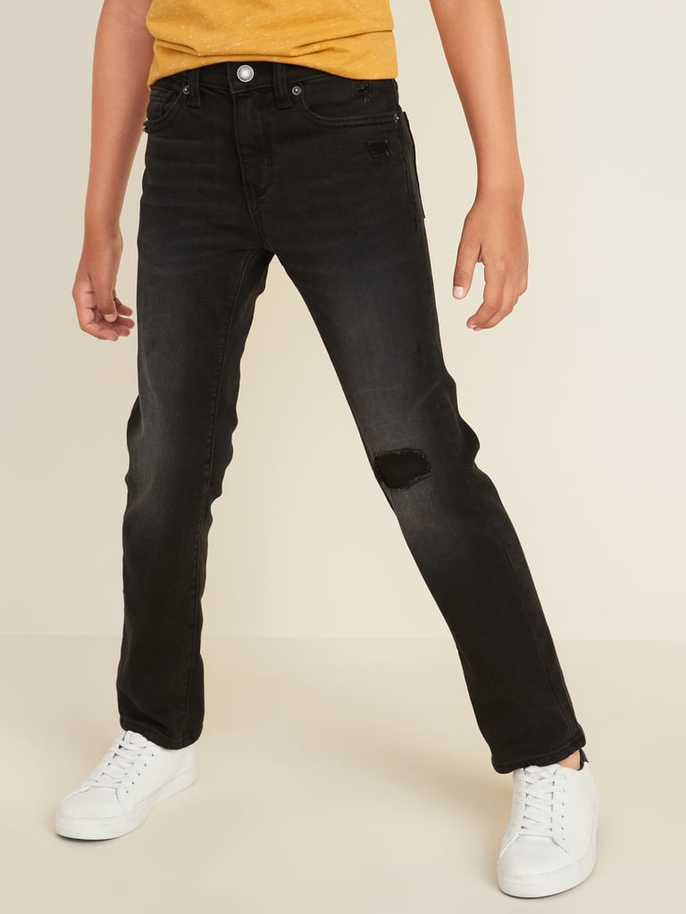 Karate Distressed Built-In Tough Black Jeans For Boys