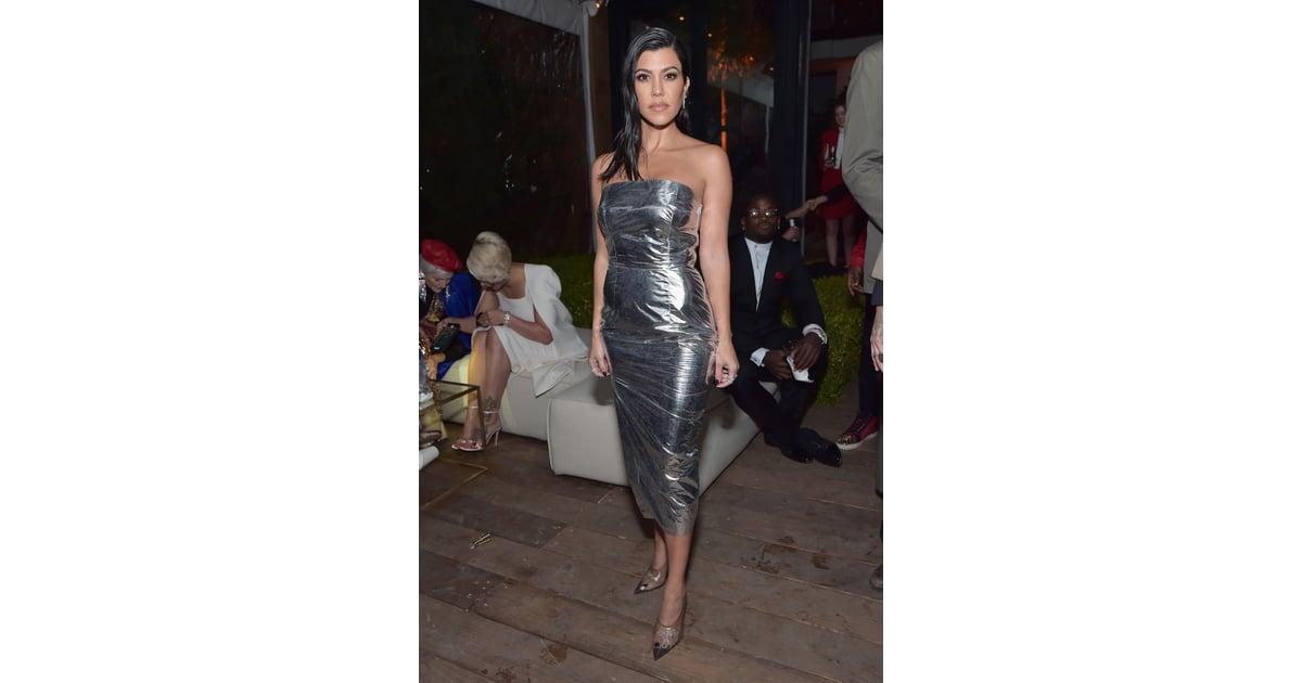 Kourtney Kardashian Silver Milly Dress At Gq Party