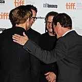 Ryan Gosling and his Drive director and costars huddled up on the carpet.