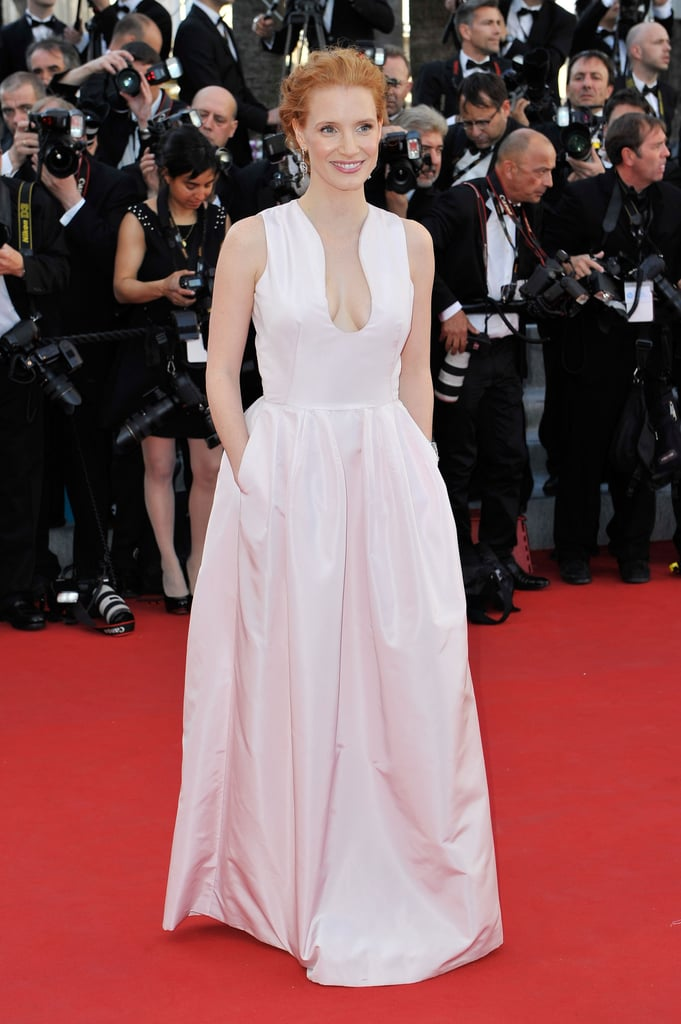 Jessica Chastain wore a pale pink gown to the opening of the Cannes Film Festival and the premiere of Moonrise Kingdom.