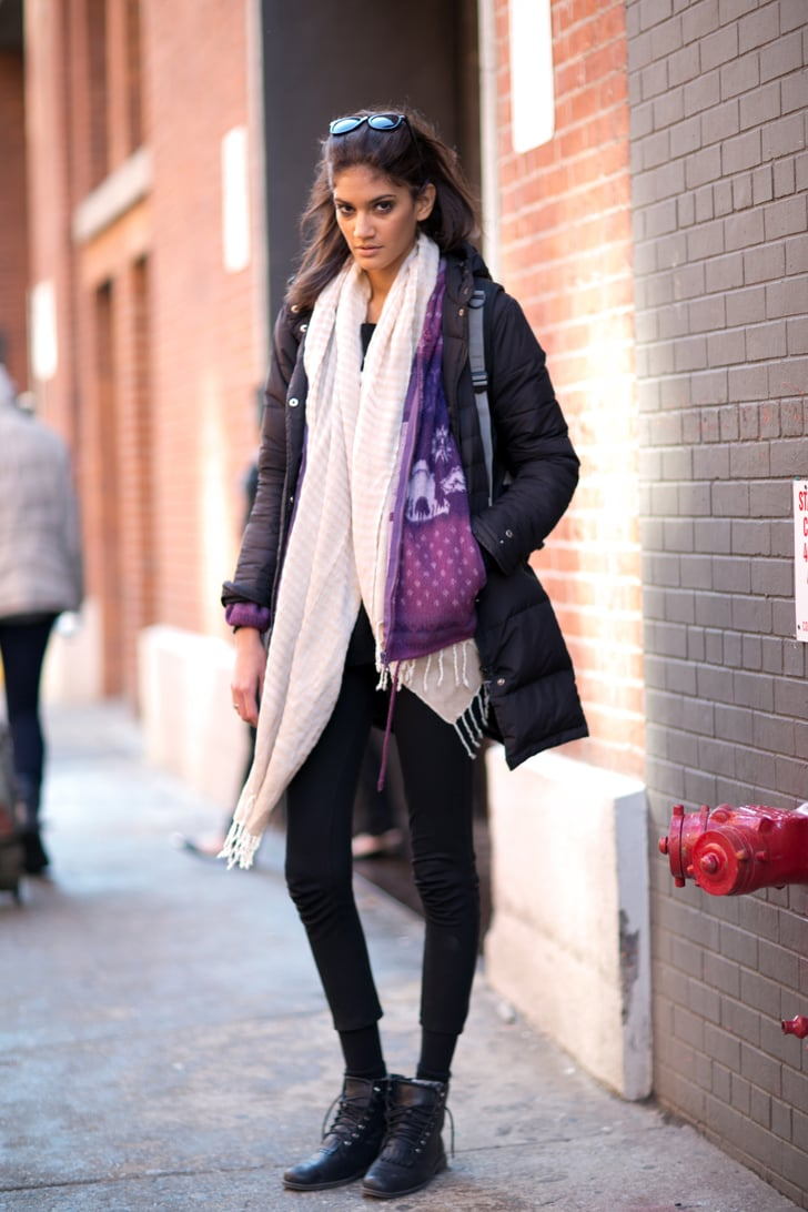 Bundled Up Cool Girl Style Model Street Style At New York Fashion Week Fall 2014 Popsugar