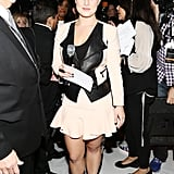Kelly Osbourne rocked black leather, balanced with feminine nude, while on duty at Rebecca Minkoff.