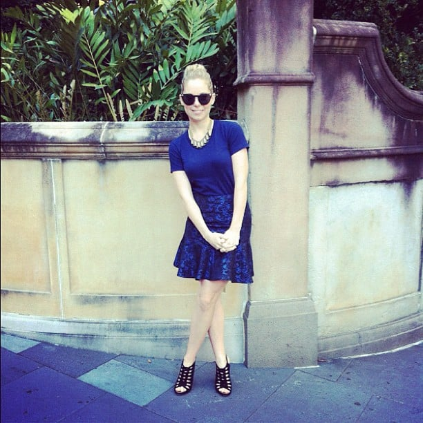 Ali was superstylin' with her American Apparel tee, ASOS skirt, Proenza Schouler heels and Versace shades. Delish!