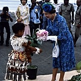 When This Little Girl Greeted Her With a Gorgeous Bouquet of Flowers in Fiji