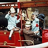 William and Harry played on a fire engine at Sandringham in January 1988.