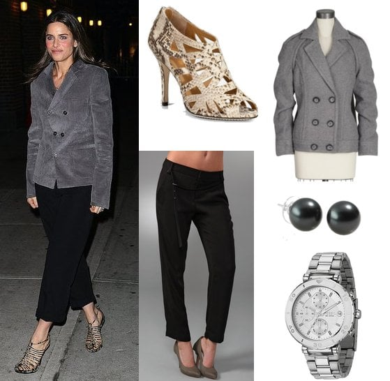 Amanda Peet Wears the Menswear Trend to Late Night With David Letterman