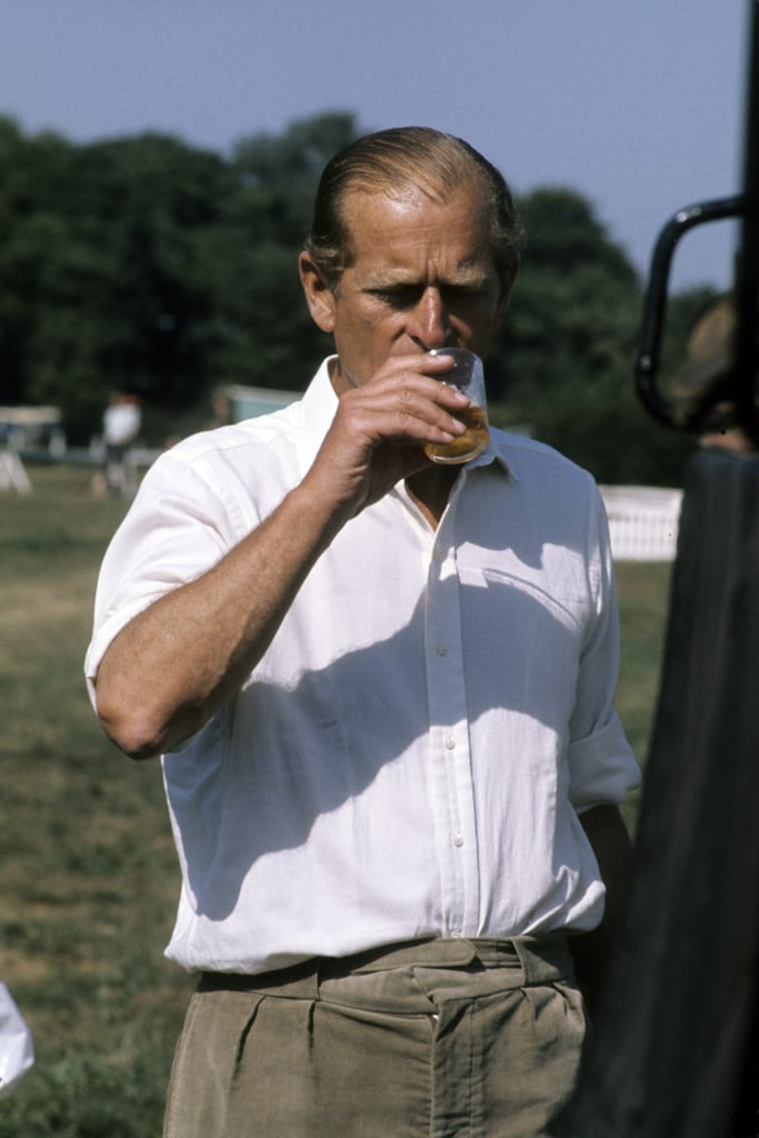Prince Philip sipped a drink at the Royal Windsor Horse Show on May 15, 1982.