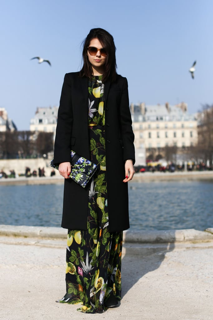 This attendee kept her garden-party prints from feeling too literal with a classic wool coat.