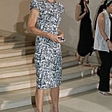 Ann Wintour showed off her signature look (dark shades included) at Christian Dior.