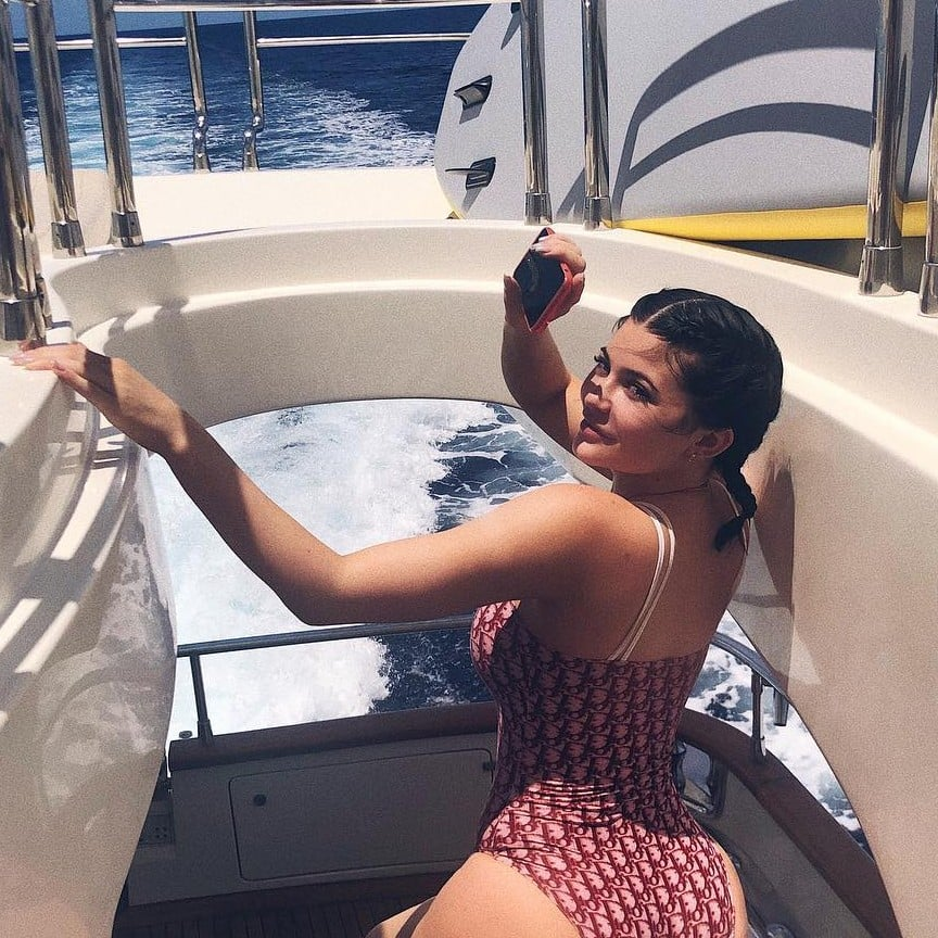 wide selection of colours and designs best sale sale retailer Kylie Jenner Red Dior Swimsuit | POPSUGAR Fashion
