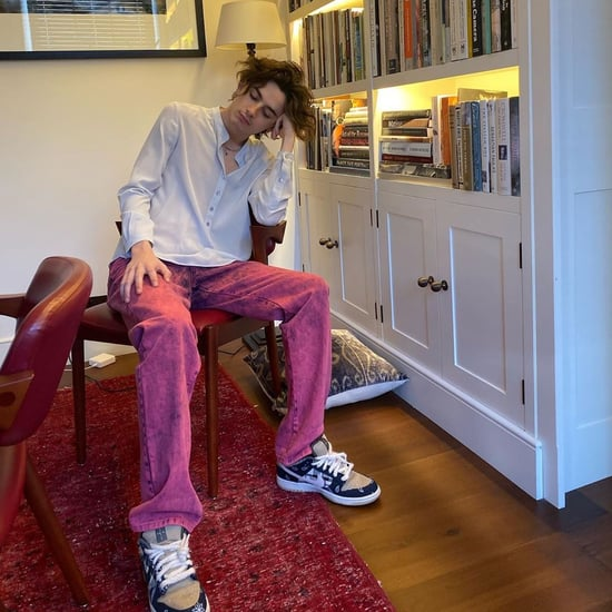 Timothée Chalamet Wearing Purple Jeans on Instagram