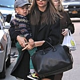 Miranda Kerr kept warm while out in NYC in a black coat.