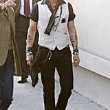 Johnny Depp arrived at the Jimmy Kimmel Live studios.