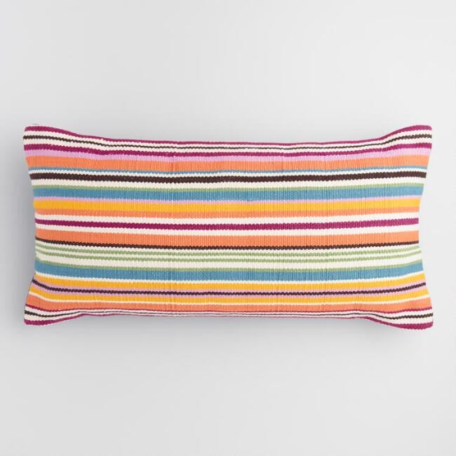 Oversized Multicolored Stripe Indoor Outdoor Lumbar Pillow