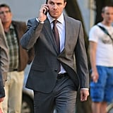 Stephen Amell began filming for the new season of Arrow on Wednesday in Vancouver, Canada.