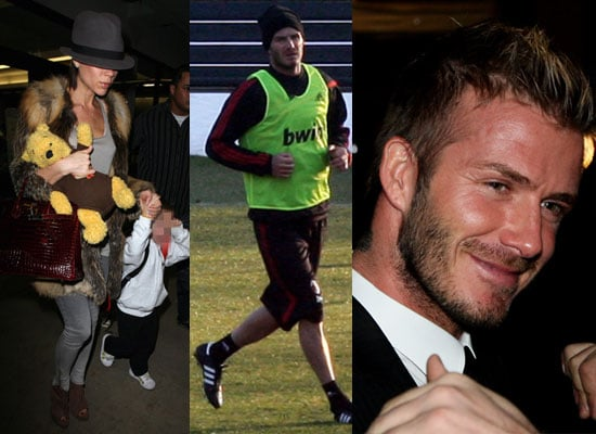 Photos of Victoria Beckham and Her Boys Arriving at LAX Plus David Beckham Training With AC Milan in Italy