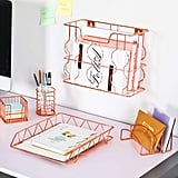 Rose Gold Office Supplies Five-in-One Metal Desk Organizer Set