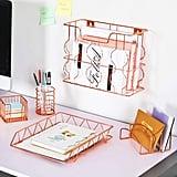 Rose Gold Office Supplies Five-in-One Metal Desk Organiser Set
