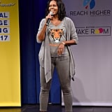Michelle attended MTV's College Signing Day in 2017 dressed in gray from head to toe.