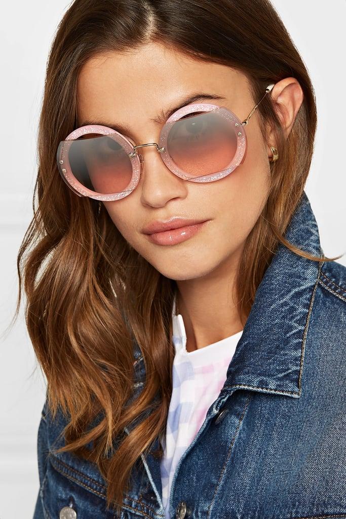 82e4a65145247 Miu Miu Cutout Round-Frame Glittered Acetate and Gold-Tone Sunglasses