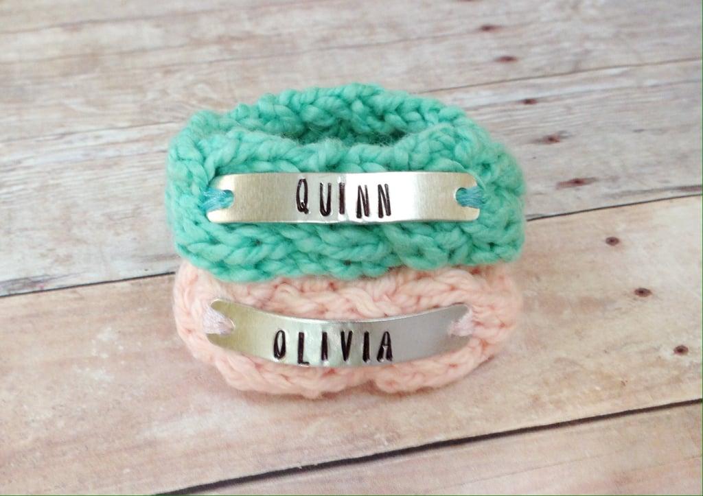 Personalized Identical Twin Knit Bracelets