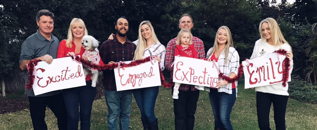 engaged expecting and emily family christmas card