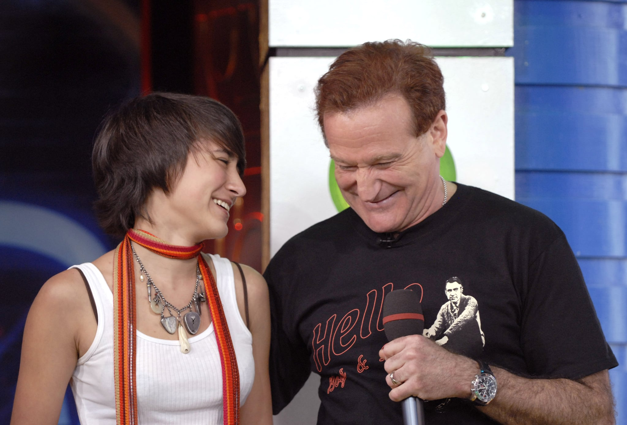 Zelda Williams and Robin Williams during Robin Williams and JoJo Visit MTV's