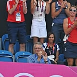 On August 10, Kate Middleton watched the women's hockey in a sleeveless white Team GB top and matching pleated skirt.
