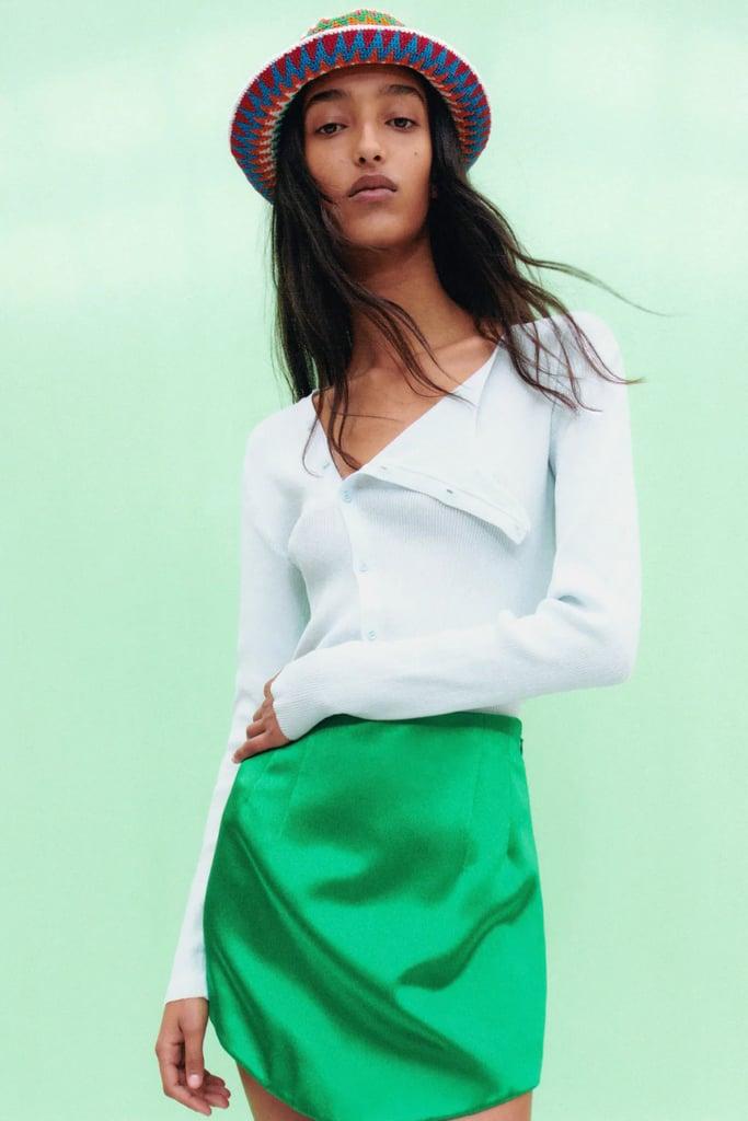 Zara Satin Effect Mini Skirt