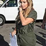 Kim Kardashian got back to work on Tuesday in LA when she filmed a scene for her reality show, Keeping Up With the Kardashians.