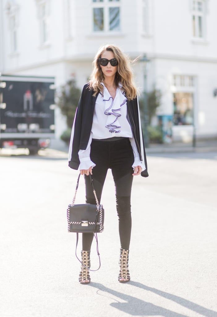 Pick Panelled Leggings to Toughen Up a Feminine Blouse