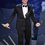 Jean Dujardin accepted his award for best actor at the 2012 Oscars.