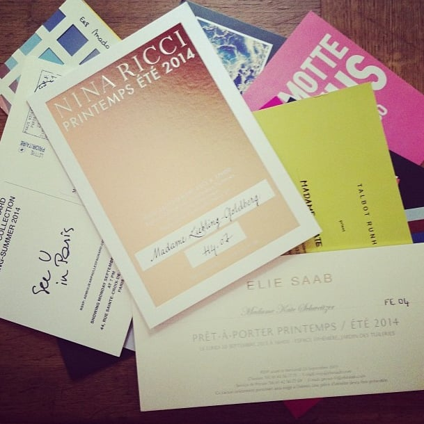 """Unlike New York Fashion Week, where every invite is digital, there's something romantic about the fact that Paris still sends paper invites (with beautiful calligraphy and """"Madame"""" prefixes, no less!) in the mail. Source: Instagram user popsugarfashion"""