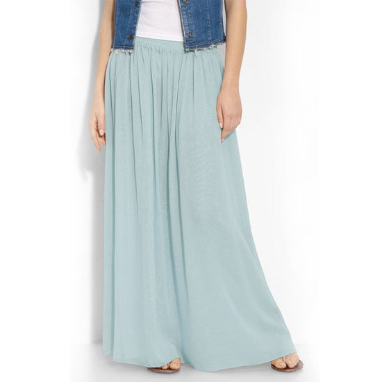 Nine 3 Shirred Skirt in Mint, $40