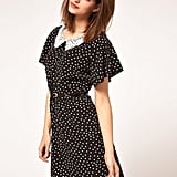 Johann Earl Dress in Polka Dot Print With Lace Collar ($86)
