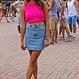 It was hard not to notice this hot-pink top from across the park — and we love how she paired it with equally bright white flatform sandals from Forever 21.
